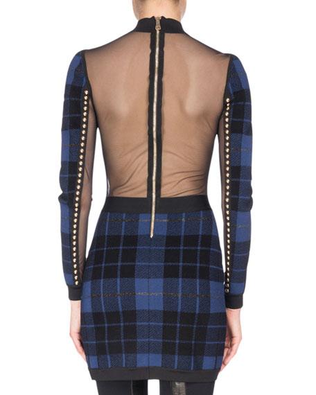 Studded Tartan Illusion Mini Dress, Black/Blue