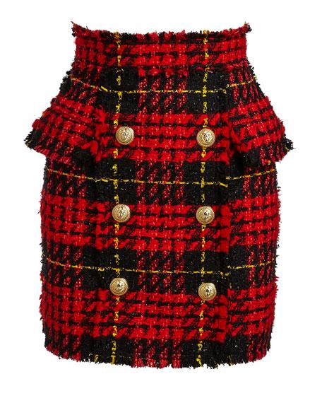 High-Waist Tartan Tweed Skirt, Red/Black