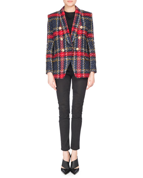 Double-Breasted Plaid Tweed Jacket, Red Pattern