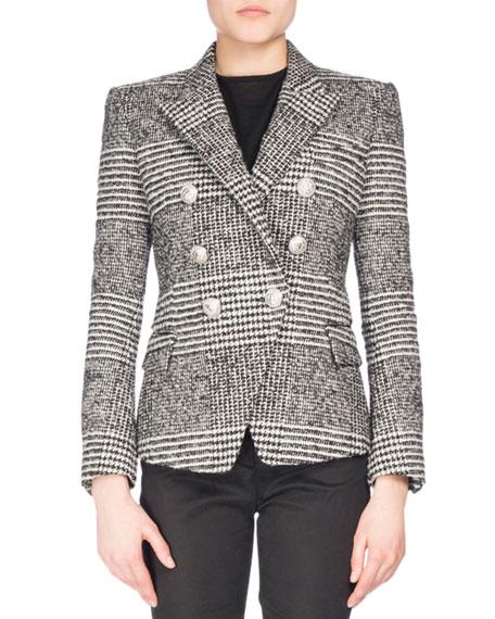 Balmain Classic Plaid Tweed Jacket, Black/White