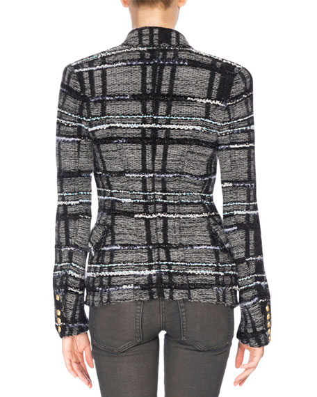 Tweed Tartan Jacket, Black/Gray