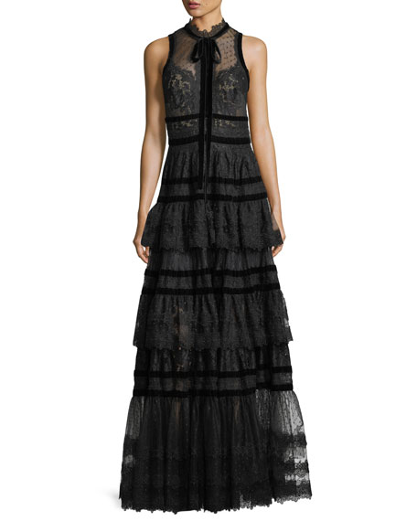 Tiered Lace-Trim Swiss Dot Gown