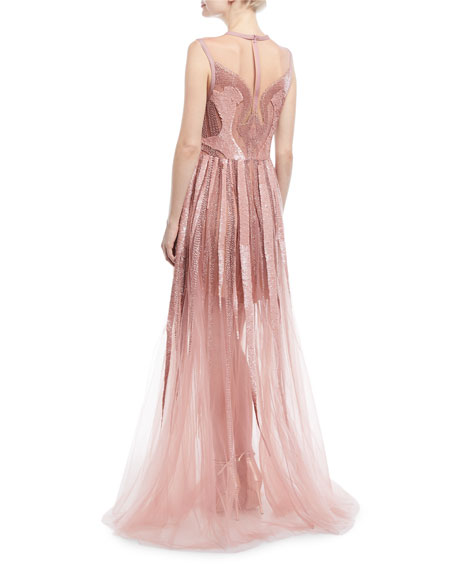 Sleeveless Bead Embroidered Tulle Gown
