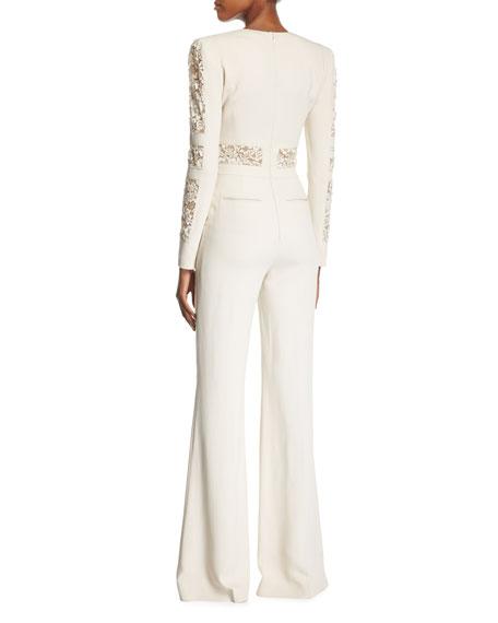 Long-Sleeve Lace-Paneled Jumpsuit