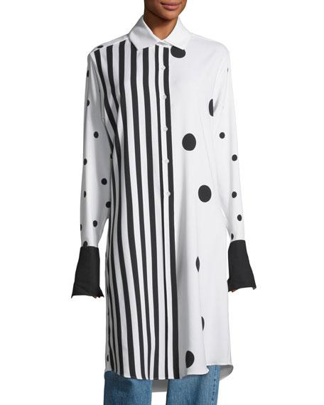 Long Striped Polka Dot Combo Blouse