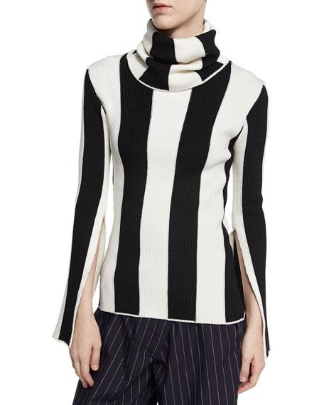 Striped Split-Sleeve Turtleneck Sweater, Black/White