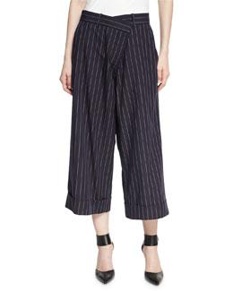 Cropped Pinstripe Wool Pants, Navy