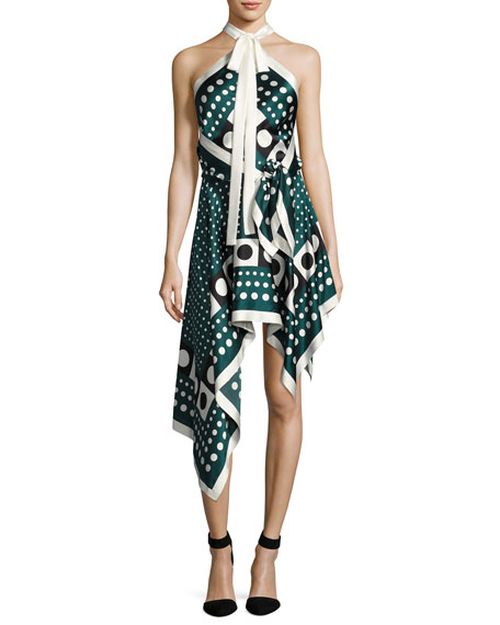Monse Dot-Print Silk Halter Dress, Green Pattern