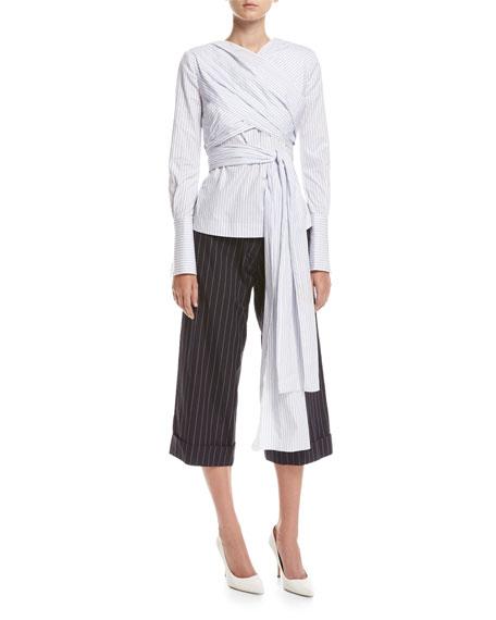 Pinstriped Wrap-Front Blouse, White/Blue