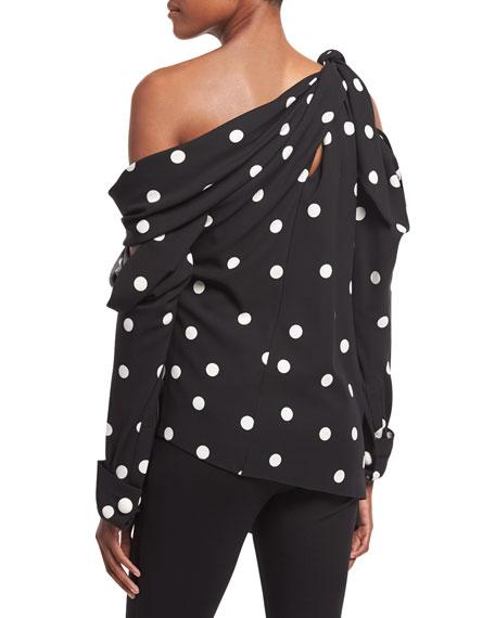 Polka Dot Slit One-Shoulder Top, Black/White