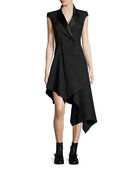 Asymmetric Cap-Sleeve Tuxedo Dress, Black