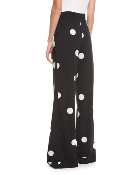 Polka Dot Stretch-Silk Pants, Black/White