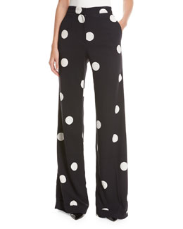 Polka Dot Stretch-Silk Pants, Black/White