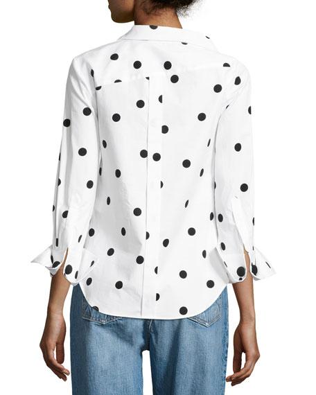 Polka Dot Stretch-Cotton Blouse, White/Black