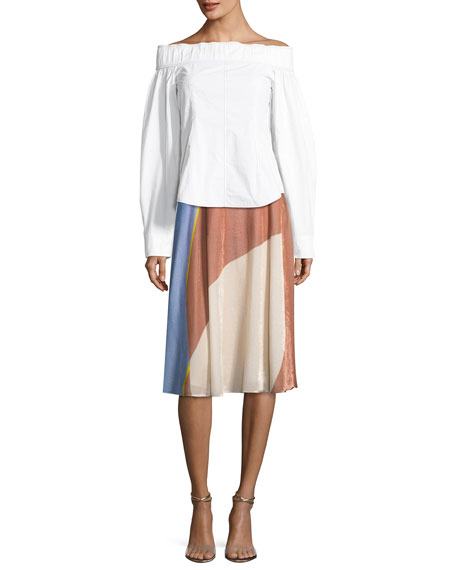 Colorblock Velvet A-Line Skirt