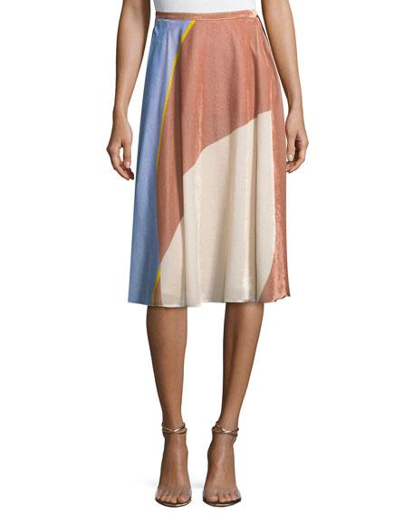 Colorblock Velvet A-Line Skirt
