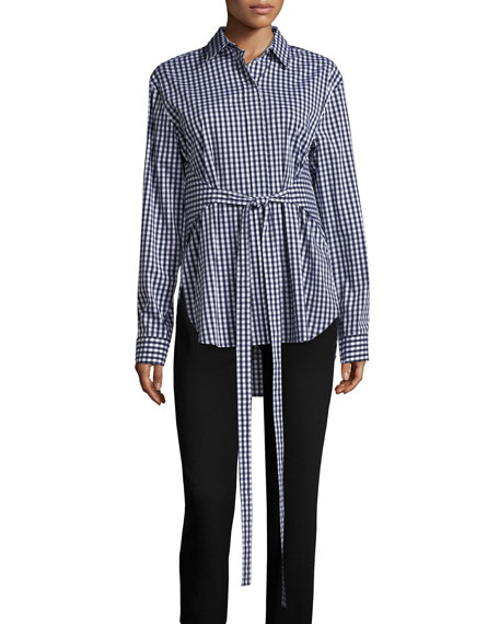 Gingham Tie-Waist Blouse, Blue/White