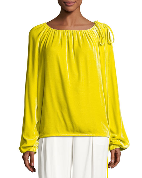 Cedric Charlier Velvet Long-Sleeve Tie-Shoulder Top, Yellow
