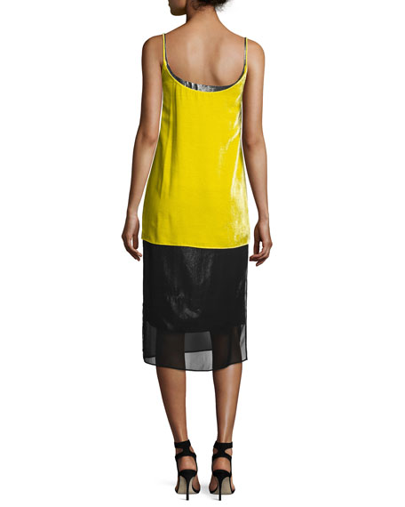 Layered Velvet Cami Dress, Yellow/Silver
