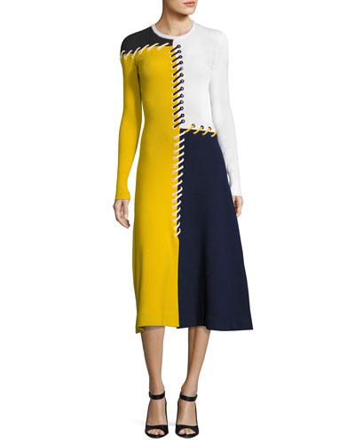 Colorblock Lace-Up Sweaterdress, Multi