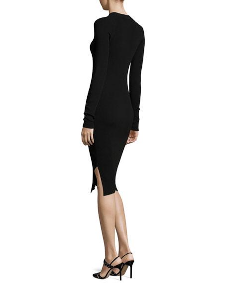 Stapled Long-Sleeve Knit Dress, Black