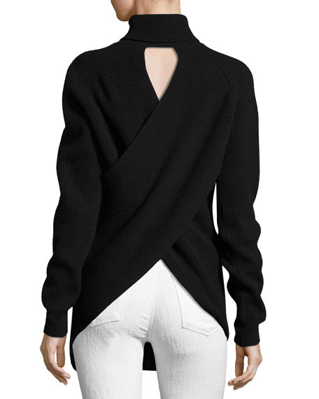 Knit Wrap-Back Turtleneck Sweater, Black