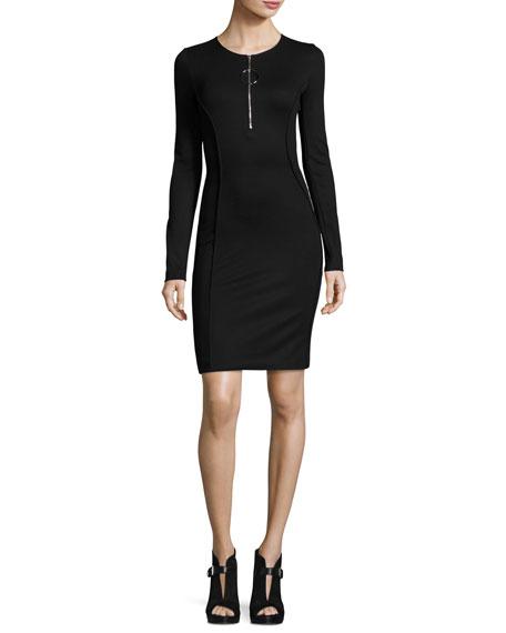 Long-Sleeve Half-Zip Mini Dress, Black
