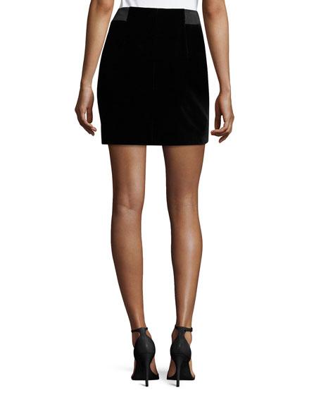 Jupe Zip-Front Mini Skirt, Black