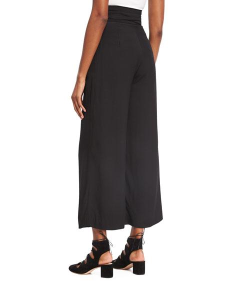 High-Waist Tie-Front Pants, Black