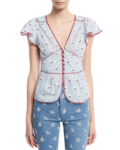Flutter-Sleeve Rose Fil Coupe Blouse, Blue Pattern
