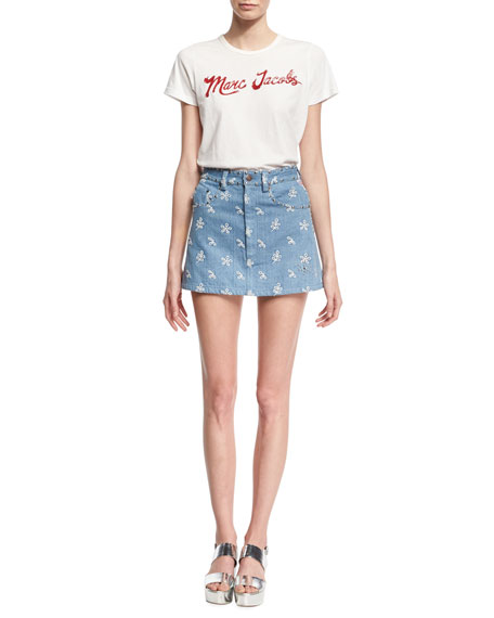Floral-Embroidered Denim Miniskirt, Indigo