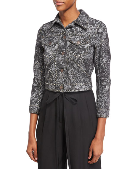 Crystal-Embroidered Paisley Denim Jacket, Black