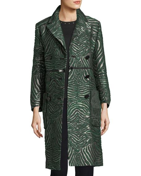 Fur-Trim Illusion Jacquard Coat