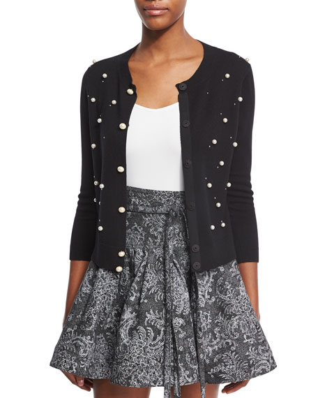 Wool-Cashmere 3/4-Sleeve Cardigan with Pearly Embellishments, Black