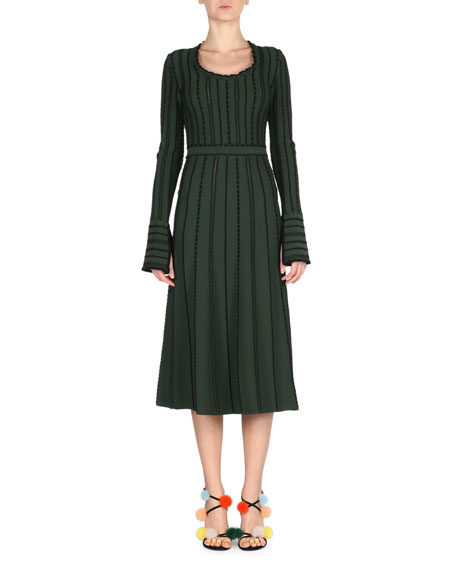 Fendi Long-Sleeve Tie-Back Knit Dress, Green/Black