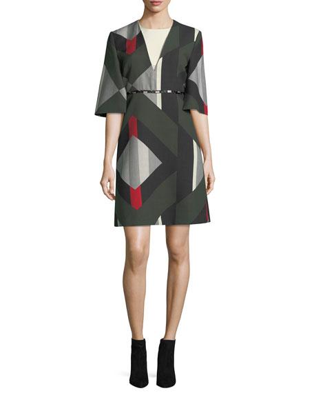 Elbow-Sleeve Geometric-Print Dress