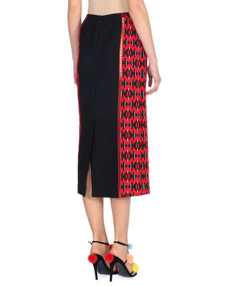 Geometric-Paneled Midi Skirt, Black/Red
