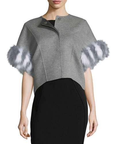 Fur-Trim Double-Face Cashmere Bolero