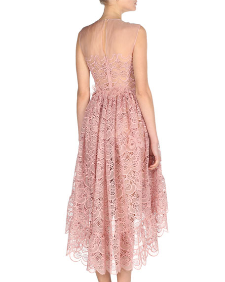 Sleeveless 3D Bow Lace Cocktail Dress, Pink