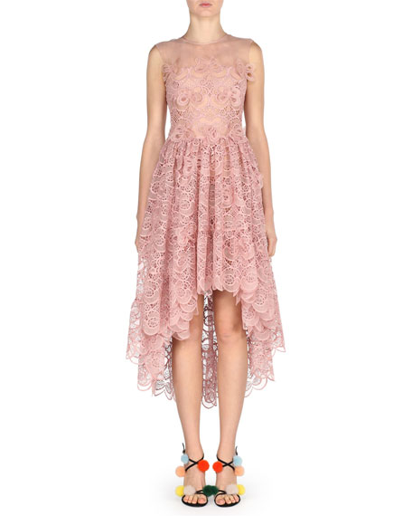 Fendi Sleeveless 3D Bow Lace Cocktail Dress, Pink