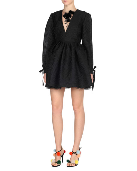 Long-Sleeve Jacquard Cocktail Dress w/Mink Fur Flowers, Black