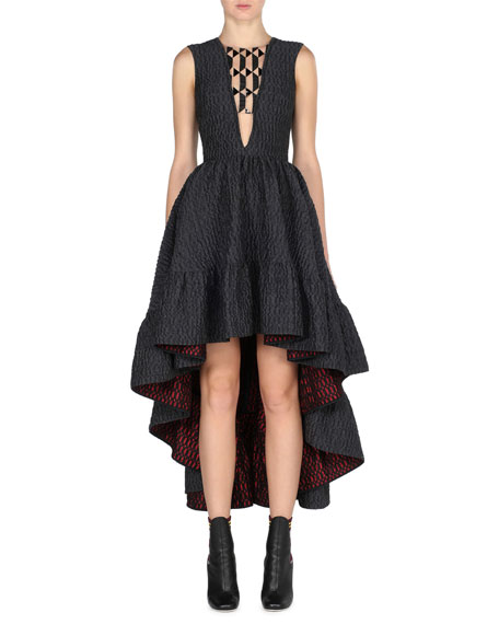 Fendi Sleeveless High-Low Jacquard Gown, Black