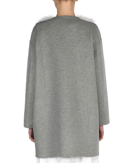 Double-Cashmere Coat w/Marbled Fox Fur Front, Gray Pattern