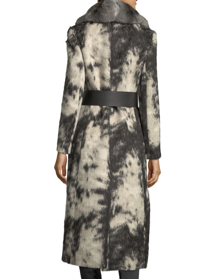 Fleece Wrap Coat with Chinchilla Fur