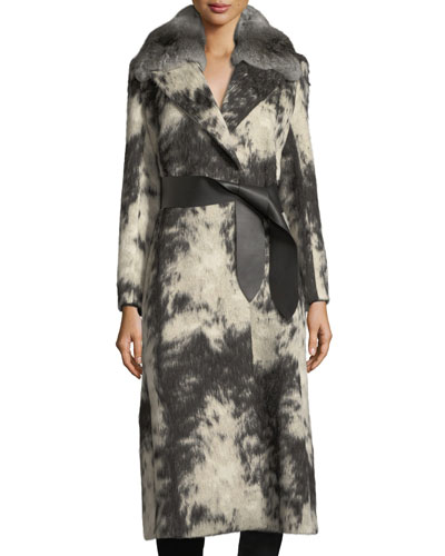 Fleece Wrap Coat with Chinchilla Fur