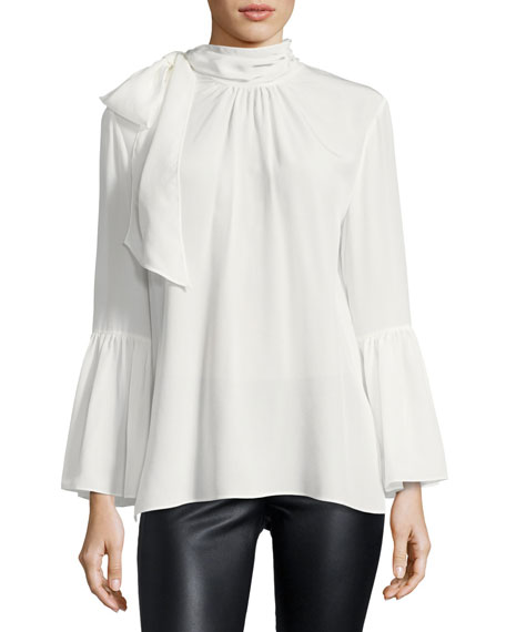 Crepe de Chine Tie-Neck Blouse