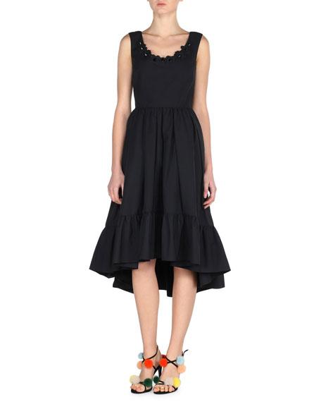 Fendi Sleeveless Pleated Poplin Dress, Black