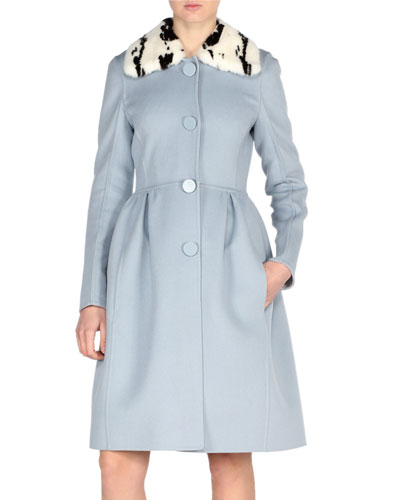 Double-Face Wool Coat w/Jacquard Mink Collar, Blue Pattern