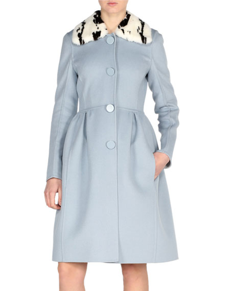 Fendi Double-Face Wool Coat w/Jacquard Mink Collar, Blue