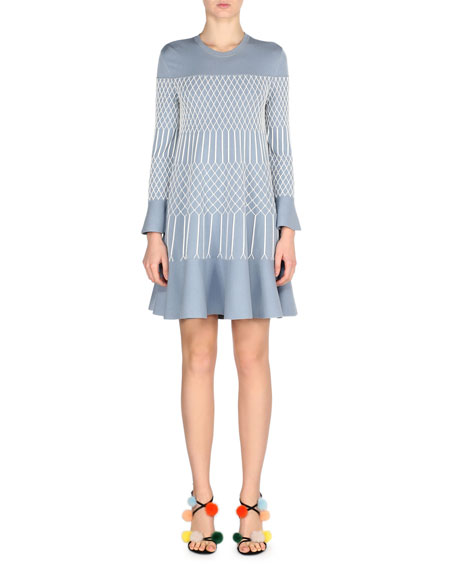 Lattice-Embroidered Bell-Sleeve Dress, Blue/White